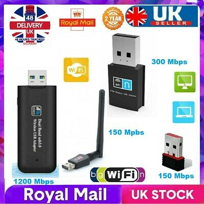 USB Wifi Adapter Wireless Dongle Adaptor PC Dongle 1200MBPS 600MBPS 300MBPS UK - • 9.99£