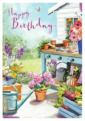 Birthday Card - Day In The Garden - At Home Ling Design Female Quality NEW • 2.50£