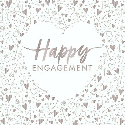 £4.35 • Buy 16 X Happy Engagement Napkins 33cm 3ply Pre Wedding Party Tableware Supplies