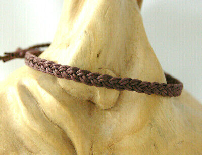Anklet, Bracelet. Brown Waxed Cotton Cord Flat Braided Plait Design. Gift • 3£