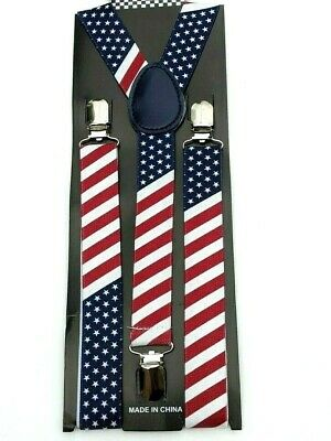 $6.88 • Buy New Usa Patriotic Elastic Braces Clip On Y-shape Suspenders Us American Flag