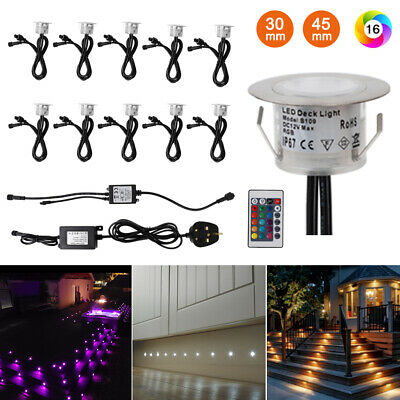 £45.99 • Buy 10X LED Garden Decking Lights 45mm Kitchen Plinth Recessed RGB Colour Changing