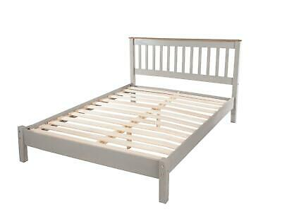 £119.99 • Buy Double Grey Washed 4ft6 Slatted Low End Solid Pine Bedstead Bed Frame With Slats
