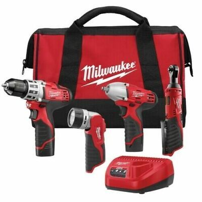 £469.99 • Buy Milwaukee M12 Cordless LITHIUM-ION 4 Tool Combo Kit DRILL DRIVER RATCHET 2493-24