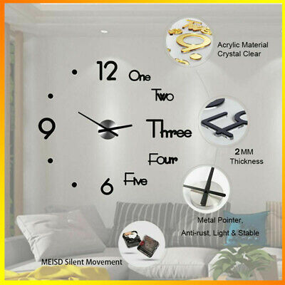 AU15.99 • Buy Large Wall Clock Watch Decal 3D Stickers Roman Numerals DIY Wall Modern Home
