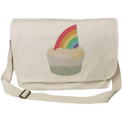 'Rainbow Cupcake' Cotton Canvas Messenger Bags (MS026595) • 11.99£