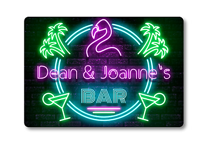 Personalised Bar Sign METAL Plaque Eighties Neon Cocktail Style. Home Pub 80s  • 7.95£