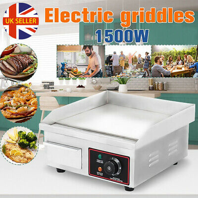 1500W Commercial Electric Griddle Countertop BBQ Grill Flat Hotplate Egg Fryer • 61.98£