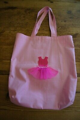 Handmade Large Lined Dance Tote Bag Pink With Hot Pink Tutu Gingham  • 13£