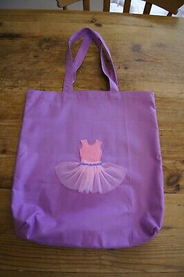 Handmade Large Lined Dance Tote Bag Purple With Light Pink Tutu Gingham  • 13£