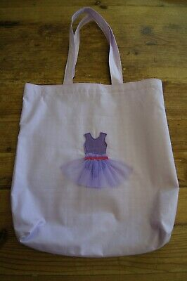 Handmade Large Lined Dance Tote Bag Lilac With Purple Tutu Gingham • 13£