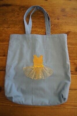 Handmade Large Lined Dance Tote Bag Blue With Gold Tutu Gingham  • 13£