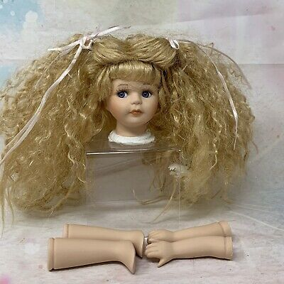 $ CDN19.62 • Buy Vintage Porcelain Doll Head Arms Parts Blonde Hair  (lot 79)