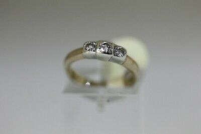 Hallmarked 9 Ct Gold And 3 Stone 0.25 CT Diamond Ring Size H 1/2. • 125£