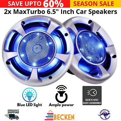 AU52.27 • Buy 2x MaxTurbo 6.5  Inch Car Speakers LED Light 500W Stereo 3-WAY Audio Component