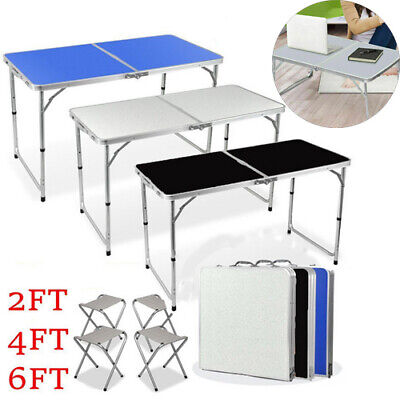 Aluminium Folding Portable Camping Picnic Kitchen Small Dining Table Chair 2-6FT • 29.99£
