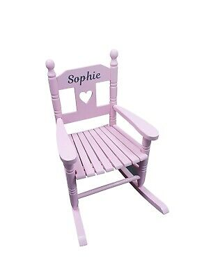 Pink Personalised Kids Chair Rocking Chairs Nursery Toddler Armchair Childrens • 49.95£