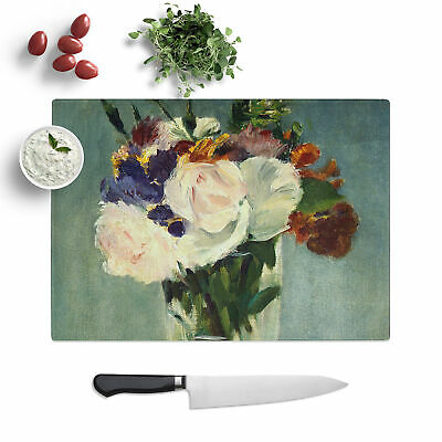 Edouard Manet Flowers In A Crystal Vase - 1 X Glass Chopping Board • 21.95£