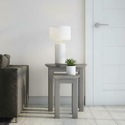Grey Painted Wooden Nest Of 2 Coffee Side Tables Lamp Table Toughened Glass Top • 80.99£