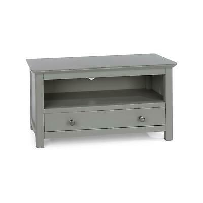 Grey Painted Pull-Down Door Cabinet TV Stand Unit Storage Toughened Glass Top • 118.99£