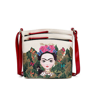 $39.99 • Buy Fk705 Authentic Frida Kahlo Jungle Series Crossbody Messenger Bag~red