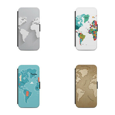 World Map Cartography Various Styles L93 Flip Wallet Phone Case  • 9.36£