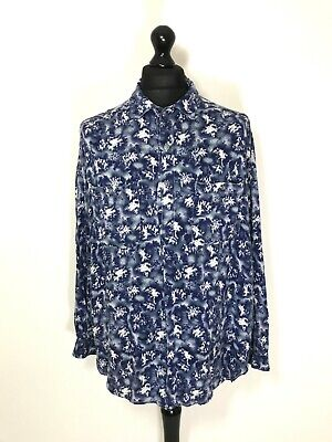 Vintage 90s FUNKY Pattern TUNIC Shirt LARGE OVERSIZED Blue Purple White Men's • 14.99£