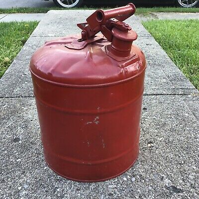 $ CDN53.69 • Buy 5 Gallon Galvanized Steel Safety Gas Can Flammable Liquids Spring Loaded Cap Red