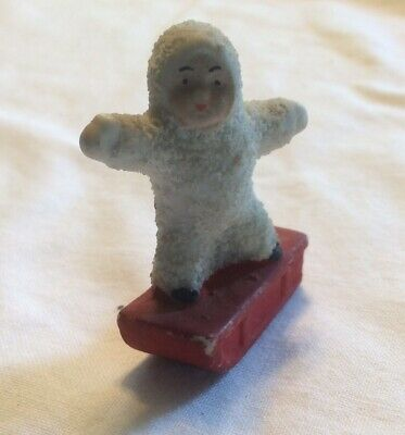 $ CDN20.42 • Buy Vintage Signed  Germany Porcelain Textured Snowbaby On Red Sled Figurine