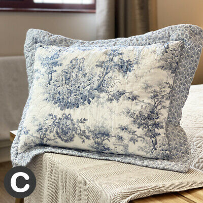 £12.95 • Buy Luxury Pure Cotton Pale Blue Rectangle Cushion Cover Quilted French Toile Floral