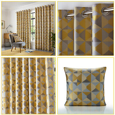 Ochre Mustard Curtains Geometric Jacquard Lined Eyelet Ring Top Curtains Pair • 26.99£