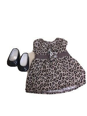 American Girl Doll SWEET SAVANNAH Gray Animal Leopard Print Dress + Shoes Outfit • 11.10£