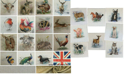 Chatham Glyn Animal, Cushion/Bag Panels.Linen Look Cotton Rich Fabric.16 Designs • 2.75£