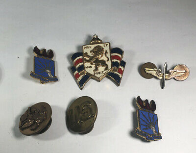 $25 • Buy WWII US Military 6 Pin Lot Collar, Wings, Prepare For Combat, Dieu Et Mon Droit
