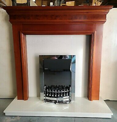 £395 • Buy Marble Hearth & Back Panel. Wooden Fire Surround With NEW Dimplex Electric Fire