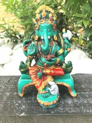 Fair Trade Hand Made Resin Sajaya Ganesh Ganesha Elephant Hindu Deity Statue  • 21.99£