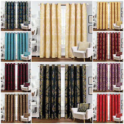 Luxury Jacquard Curtains Eyelet Ring Top Fully Lined Bedroom Curtain + Tie Backs • 23.99£