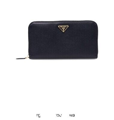 Prada Saffiano Leather Black Zip Around Wallet RRP £535 • 125£