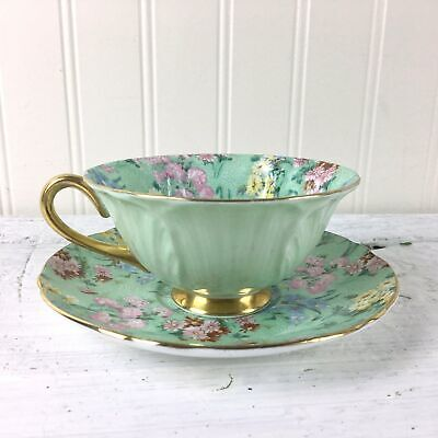 Shelley Melody Chintz Oleander Shape Gold Footed Teacup And Saucer - Mint Green • 103.92£