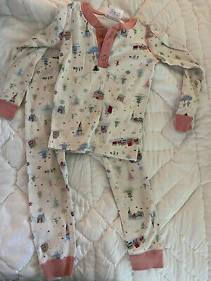 $8.70 • Buy Girls HANNA ANDERSSON Pajamas Sleep Set Sz 100 4 Christmas Holiday Pink Skate