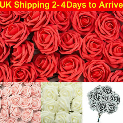 50Pcs Large 7CM Artificial Flowers Foam Rose Heads Wedding Party Decor Bouque UK • 7.99£