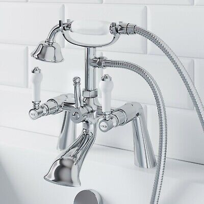 £62.97 • Buy Traditional Bathroom Bath Shower Head Mixer Tap Lever Handle Polished Chrome