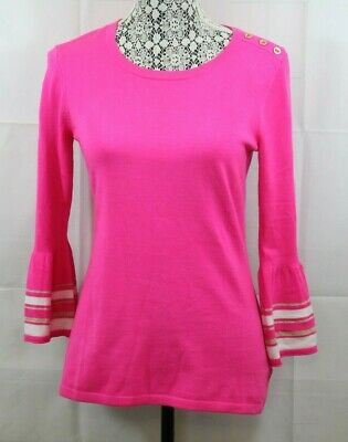 $29.99 • Buy Lilly Pulitzer Womens S Pink White Gold Fontaine Top Bell Sleeve Blouse Sz S