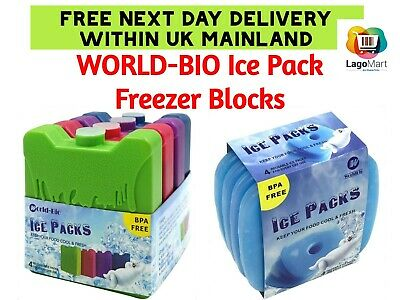 WORLD-BIO Ice Pack Freezer Blocks For Lunch Box Cooler Bag Reusable - Small But • 19.49£