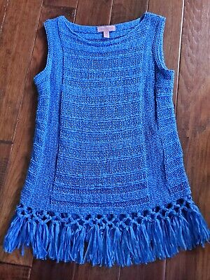 $27.99 • Buy Lilly Pulitzer Tank Top Luca Fringe Hem Sweater Extra Small XS Women Blue