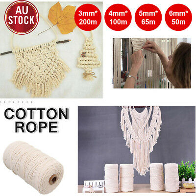 AU14.24 • Buy 3/4/5/6mm Natural Cotton Rope Cord String Twisted Craft Macrame Artisan Beige AU