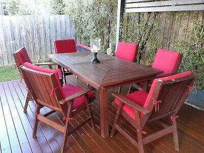 AU350 • Buy Hardwood Timber Outdoor Setting WITH Cushions!