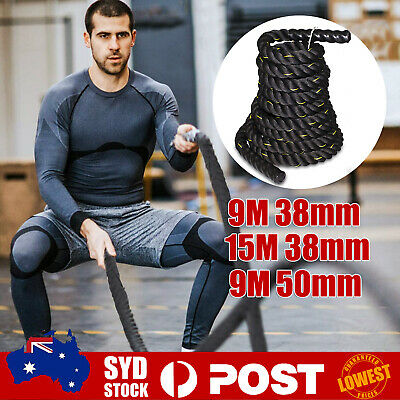 AU92.99 • Buy 9M 15M Heavy Home Gym Battle Rope Battling Strength Training Exercise Fitness  +