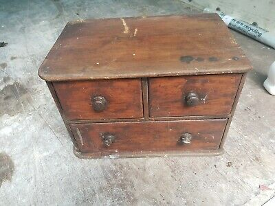 Antique Old Solid Wooden Pine Table Top Collectors Chest Of Drawers Cabinet Box • 36£
