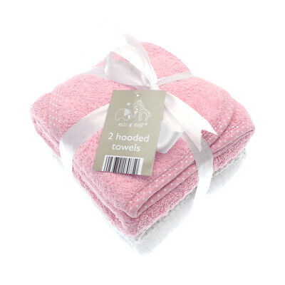 £11.45 • Buy Elli & Raff 2 Pack Hooded Baby Towels, Pink And White New Born Bath Gift Set